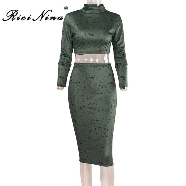 2dff128dafc ... RICININA New Two Pieces Set Women High Neck Long Sleeve Sexy Leopard Crop  Tops With Skirts