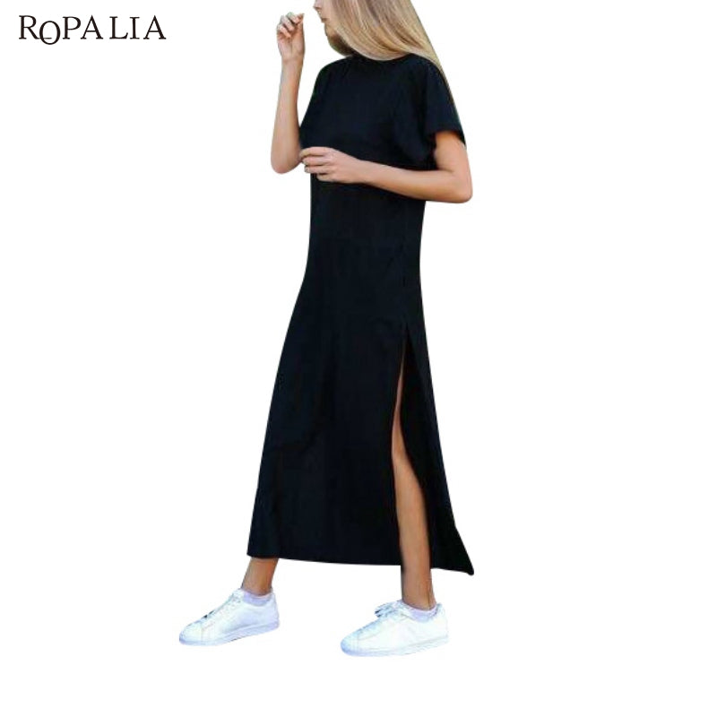 ROPALIA Summer Dress female Side High Slit Long Tunic Tops for Women  stylish robe femme Black ... e0e04a4c6ce