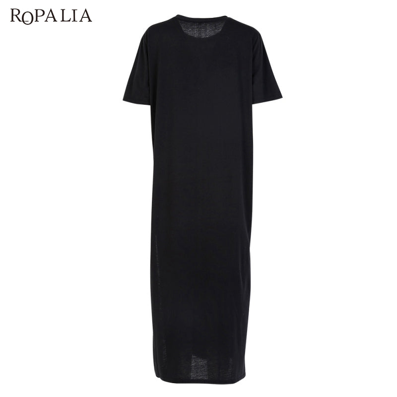 ... ROPALIA Summer Dress female Side High Slit Long Tunic Tops for Women  stylish robe femme Black ... f124ffb8473