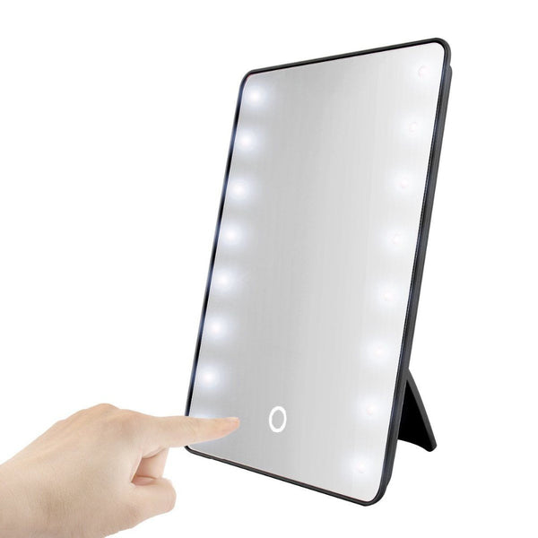 RUIMIO Makeup Mirror with 16 LEDs Cosmetic Mirror with Touch Dimmer Switch Battery Operated Stand for Tabletop Bathroom Travel