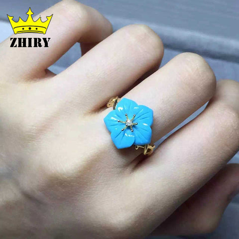 Real Blue Turquoise ring natural gemstone genuine solid 925 sterling silver women jewelry Lady rings