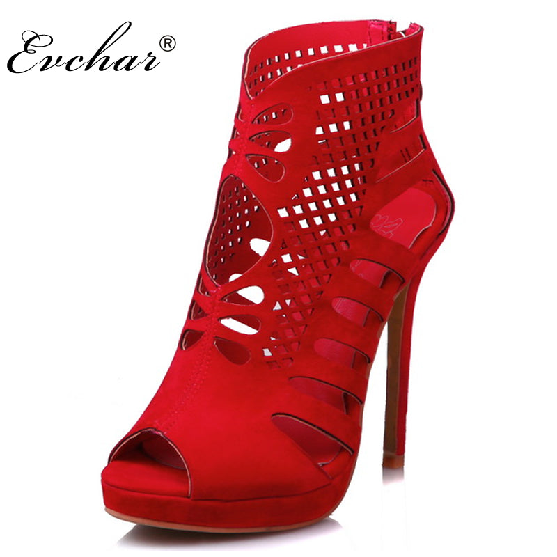 d07a82044734e ... Red And Black Gladiator 11.5cm super High Heels Fish Mouth Women s Shoes  Sexy Party wedding ...