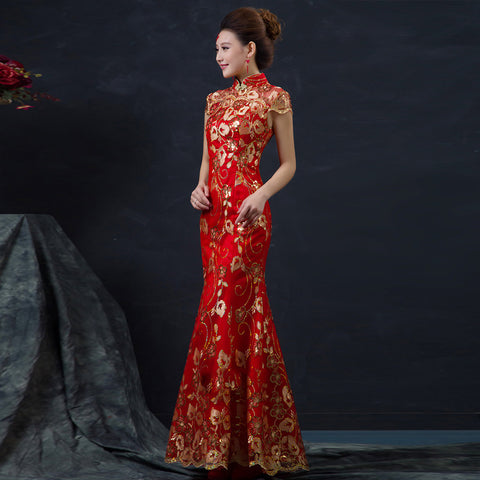 Chinese Wedding Dress.Red Chinese Wedding Dress Female Long Short Sleeve Cheongsam Gold Slim Chinese Traditional Dress Women Qipao For Wedding Party 8