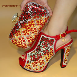 Red Color Peep Toe 12.5cm Heels Sexy African Shoes and Bag Matching Set Italy Shoes and Bag Match To Party Free Shipping