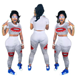 Red Lips Printed Casual 2 Piece Set Summer O Neck Short Sleeve Crop Top And Fit Slim Long Pants Women High Street TracksuitXK013