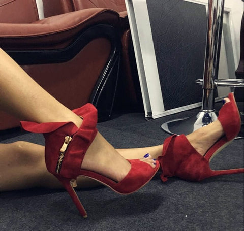 Red Suede high heel sandal sexy open toe cutouts woman sandal Ruffles decorations thin heels woman sandal black