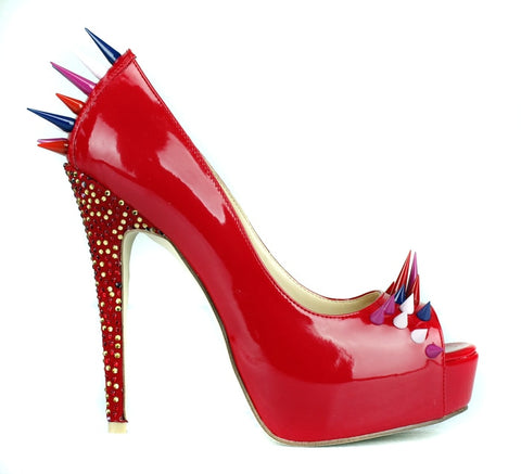 Red patent leather rivets studded high heel shoes sexy pee toe slip-on woman pumps fashion crystal embellished platform heels