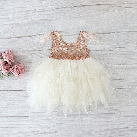 Retail Feather Sequins Tiered Girls Dress Fluffy Tulle Party Kids Princess Dresses for Girls Baby Clothes 2-10Y E13846