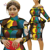 Retro African Women Print Tops and Skirt Sets Bazin Riche African Clothing 2 Pieces Knee-length Skirts Sets with Cape WY4425