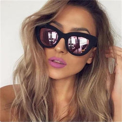 Retro Cat Eye Sunglasses Women Brand Designer  Ladies Fashion Barbie powder Mirror Lens Cateye Sun Glasses For Female UV400