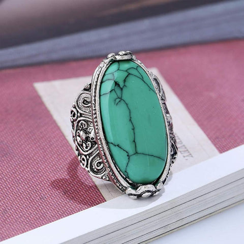 Retro Vintage 925 Silver Set Yellow Green Chalcedony TURQUOISEs Rings Finger Female Romantic Jewelry