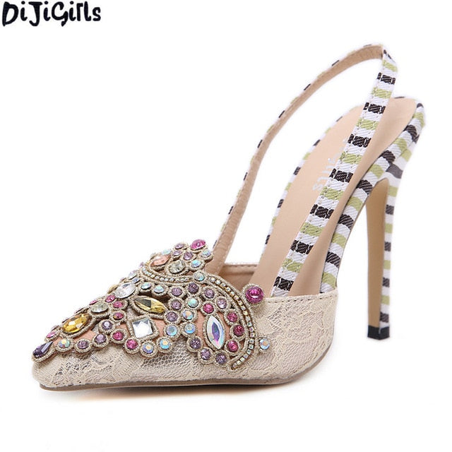 bfdce3bbd726b5 ... Rhinestone Decoration Pointed Toe Women Shoes Fashion Thin Heel Wedding Shoes  Women Casual Party High Heels ...