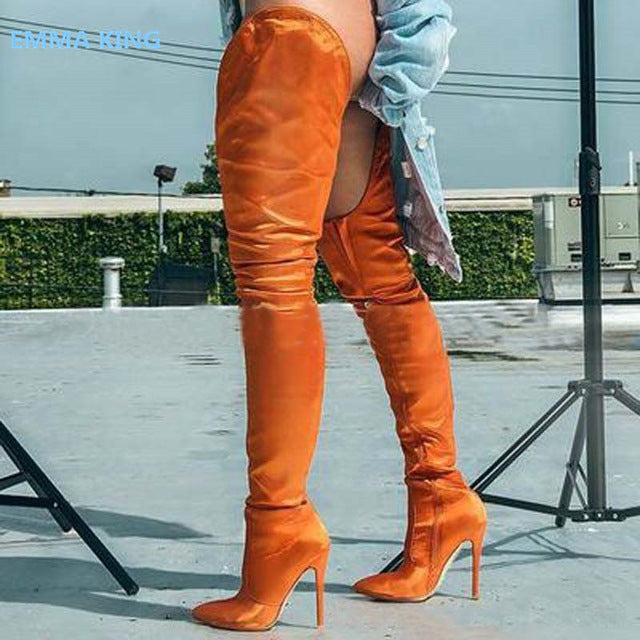 4ea6442f296 ... Rihanna Flock High Boots Winter Over Knee Fashion Stiletto Heeled Boots  Pointed Toe Women Shoes Solid