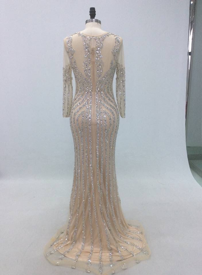 9decb20771 Robe De Soiree 2018 Sequin Luxury Mermaid Evening Dress Long Sleeves with  Crystal Women Arabic Formal Prom Party Gown Real Photo