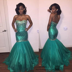 Robe de Soiree Longue Green Green Sequin Evening Dress Long Mermaid African Prom Dresses 2016 Tulle Abendkleider Avondjurk