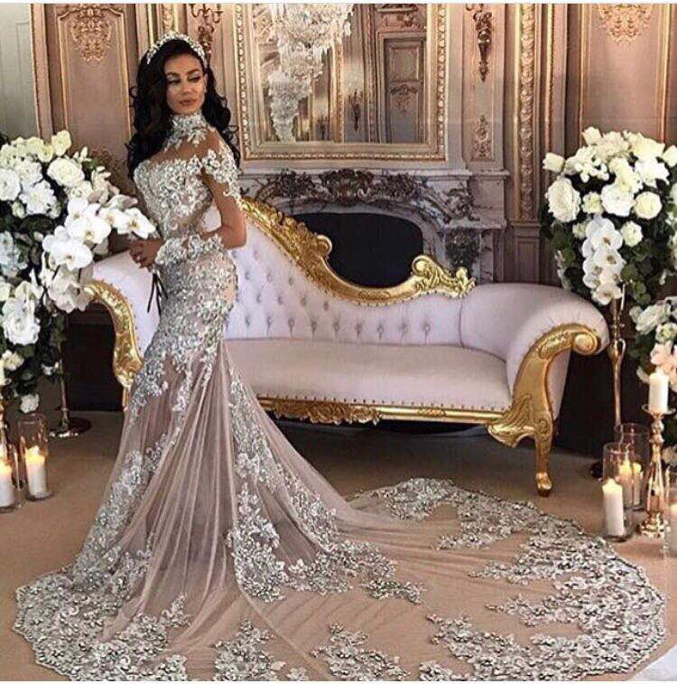 7ad6447172 Romantic Mermaid Long Evening Dresses 2018 High Neck Beaded Crystal Long  Sleeves Muslim Arabic Women Formal Prom Evening Gowns 1