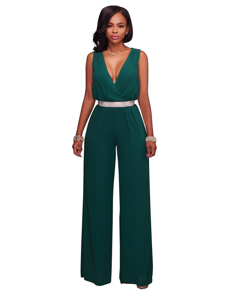 47f12a8dd8f Rompers womens jumpsuit fashion long pants rompers overalls belt sexy neck  sleeveless wide leg e jpg