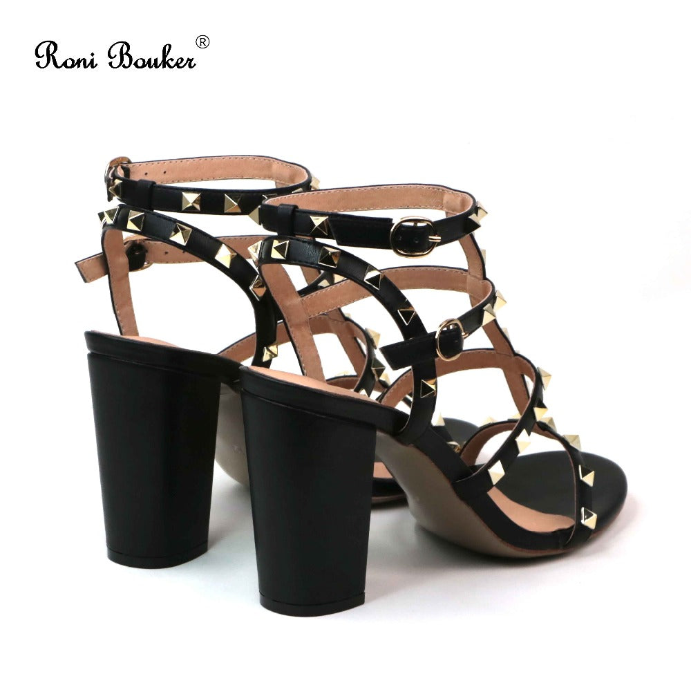 100fce2514 Roni Bouker New Summer 2018 Lady Straps Buckle Genuine Leather Shoes ...