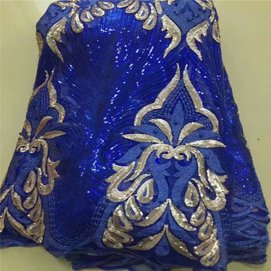Royal Blue African Net Lace Fabric, 2019 High Quality 3d Sequins Nigerian Wedding Lace Fabrics 5Yards Beaded French Tulle lace