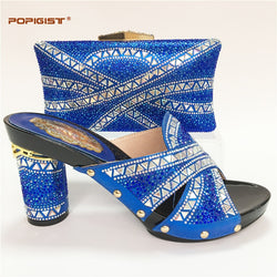 Royal blue African Customized Handmade with Rhinestones Shoes and Bag Matching Set Bridal Wedding Shoes Women Shoes with bag set
