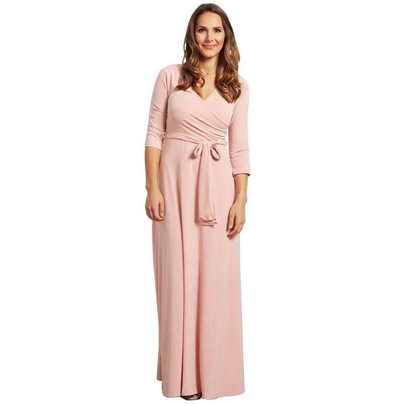9064b2086ea ... Women Sexy Pluging V neck Solid 5 Color Tunic Sashes Long Maxi Dresses.  Hover to zoom