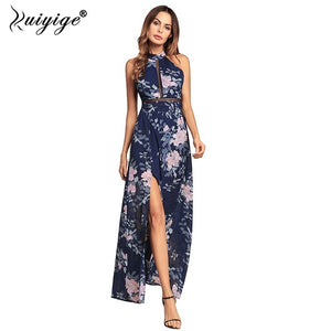43a1cd06f0 Ruiyige 2018 Women Floral Print Halter Chiffon Long Dress Sexy Split  Backless Summer Hollow Out Party ...