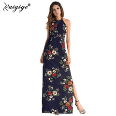f6563d9fa7 Ruiyige 2018 Women Summer Halter Dress Boho Off Shoulder Long Floral Print  Dresses Backless Elegant Party ...