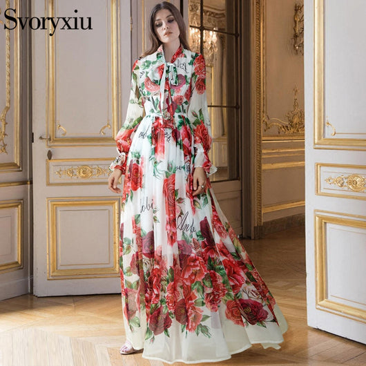 Womens Floral Cat Printing Casual A Line Ball Gown Maxi Long Dress Slim Runway