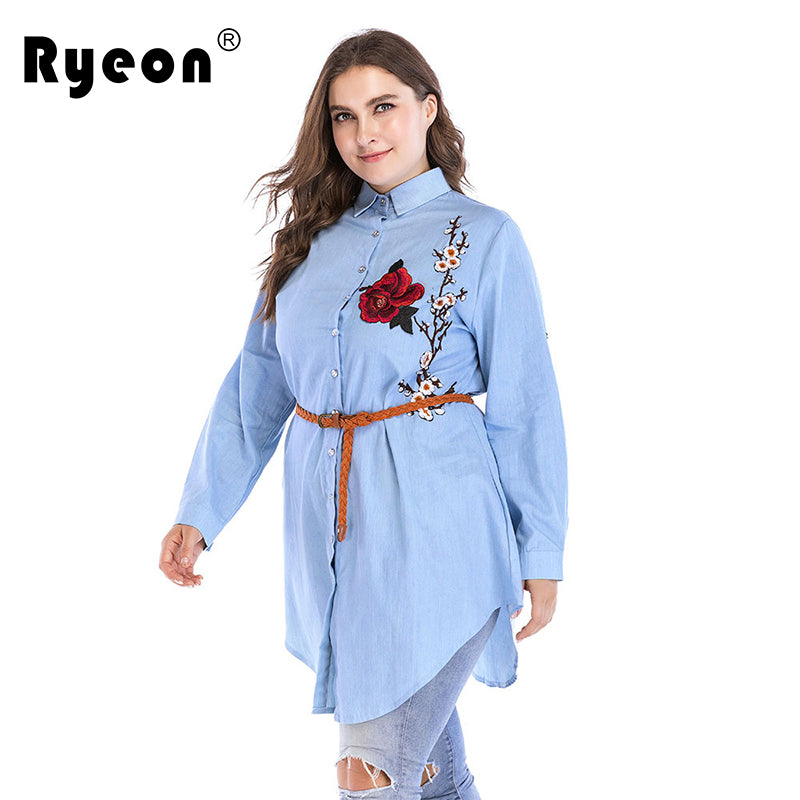 ad8efe5f15ec Hover to zoom · Ryeon Denim Shirt Dress Women Plus Size Embroidery ...