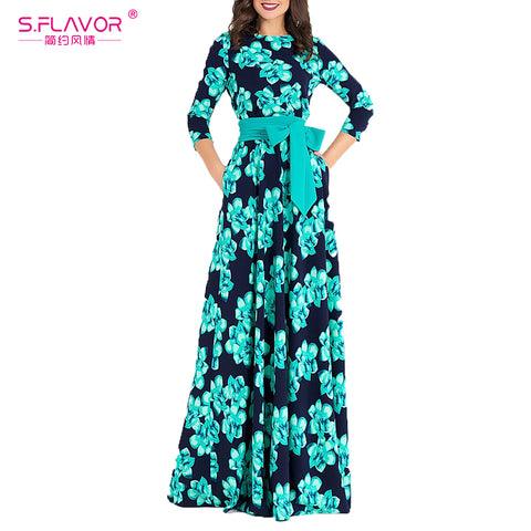 S.FLAVOR Women printing autumn dress  Elegant O-neck loose style long party dress for female Hot sale women vestidos No pockets