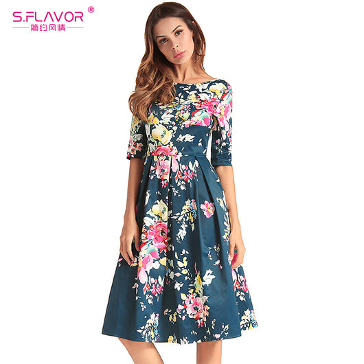 S.FLAVOR Women's printing Autumn dres New Hot Sale O-Neck Vestido Vintage Print Elegant Knee-Length Sexy Nature A-line Dress