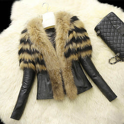 S-XL Women Faux Fur PU leather Jackets and Coat Womens Autumn Winter Fur Jackets Long raccoon fur Collar Coats