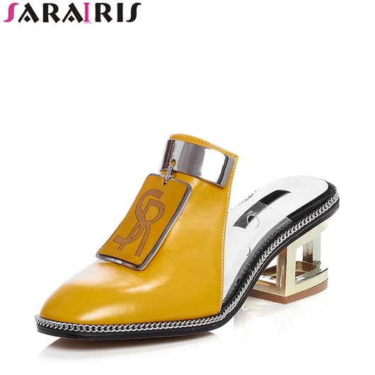 SARAIRIS New Brand Genuine Leather Mules Shoes Ladies Summer Decorating High Heels Slippers Women 2020 Summer Shoes Woman