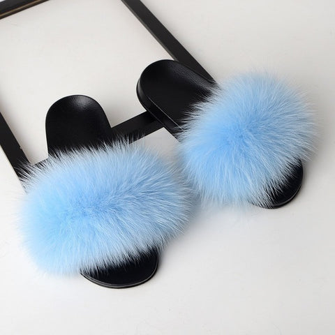 SARSALLYA Fur Slippers Women Real Fox Fur Slides Home Furry Flat Sandals Female Cute Fluffy House Shoes Woman Brand Luxury 2019