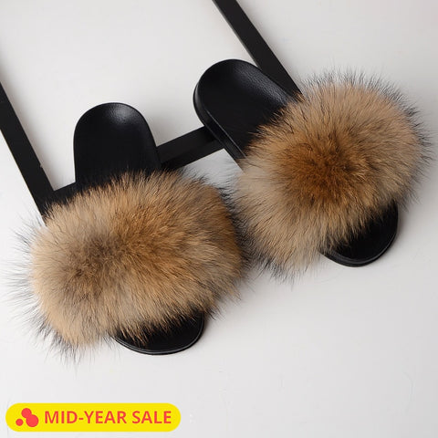 Image of SARSALLYA Fur Slippers Women Real Fox Fur Slides Home Furry Flat Sandals Female Cute Fluffy House Shoes Woman Brand Luxury 2019