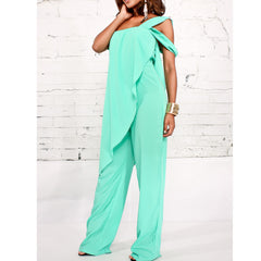 38f60bfc095f ... SAUCY ANGELIA Rompers Womens Jumpsuit Vogue Sexy Chiffon Zip Irregular  Shawl Bodysuits Side Cape Party Overalls