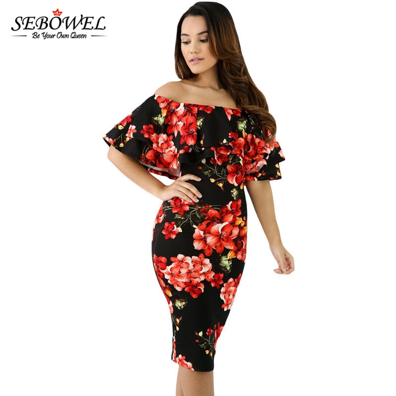 5a7565fa89c9 ... Ruffle Off Shoulder Midi Dress Sexy Bodycon Club Party dress. Hover to  zoom
