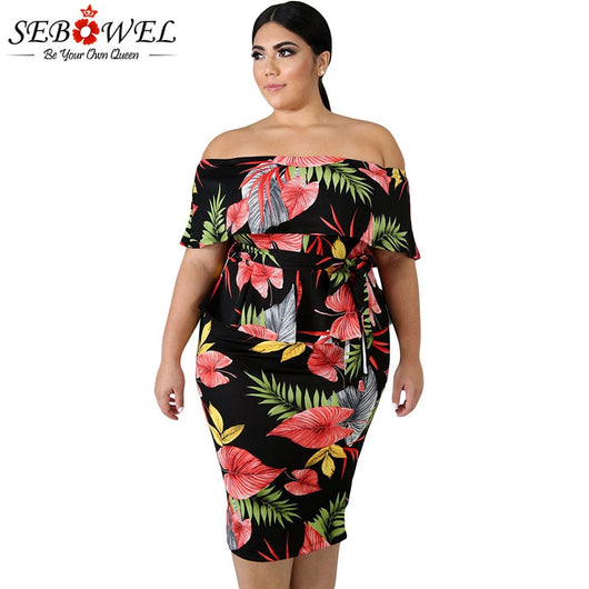SEBOWEL Tropical Print Plus Size Peplum Dresses Woman Elegant Big Size  Ruffle off Shoulder Print Pattern Dress for Female XL-5XL