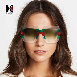 SHAUNA Oversize Mixed Colors Frame Women Square Sunglasses Popular Men Gradient Lens Shades UV400