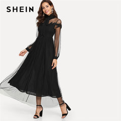SHEIN Black Elegant Party Tie Neck Dot Contrast Mesh Overlay High Waist  Button Trim Solid Maxi ... 7cf18db33396