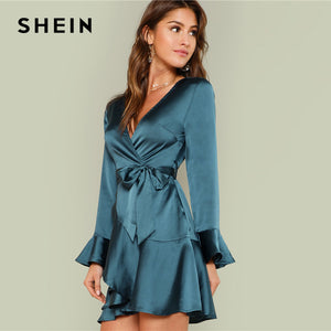 ab2b6a9f11 ... SHEIN Blue Party Elegant Sexy Split Back Ruffle Trim Overlap Front Belted  Deep V Neck High