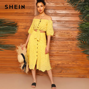 86fbee945f SHEIN Boho Yellow Off Shoulder Embroidered Eyelet Knot Crop Top and Scallop  Edge Buttoned Skirt Sets