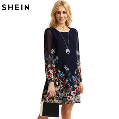 5c67ba9d23514 SHEIN Casual Autumn Boho Dresses for Women Multicolor Round Neck Long  Sleeve Floral Print Straight Chiffon ...
