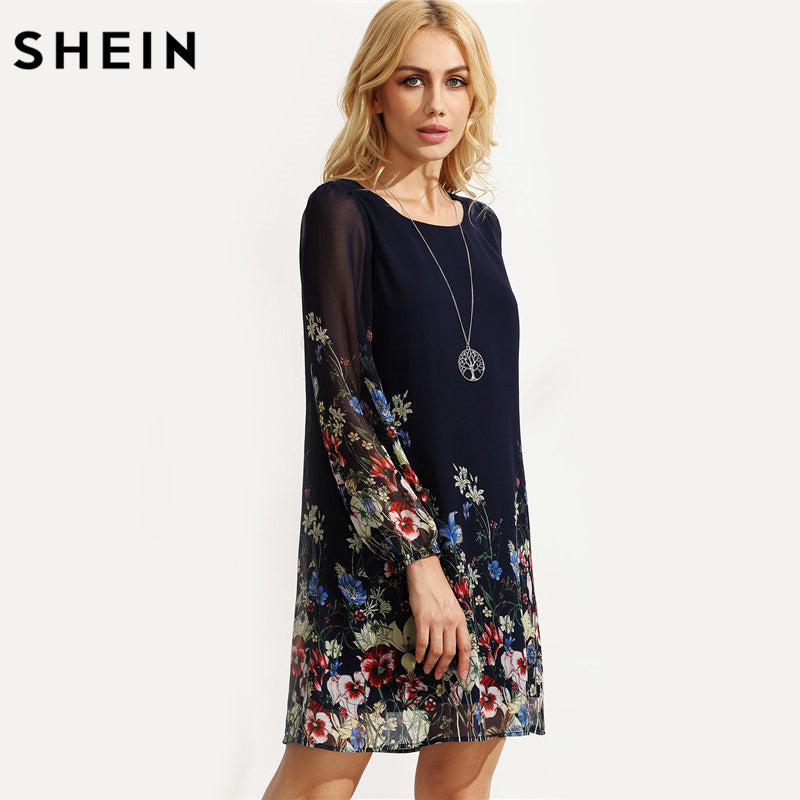 a3a670ad34 SHEIN Casual Autumn Boho Dresses for Women Multicolor Round Neck ...
