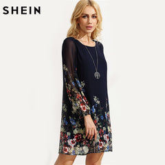 d2542b02cd355 ... SHEIN Casual Autumn Boho Dresses for Women Multicolor Round Neck Long  Sleeve Floral Print Straight Chiffon