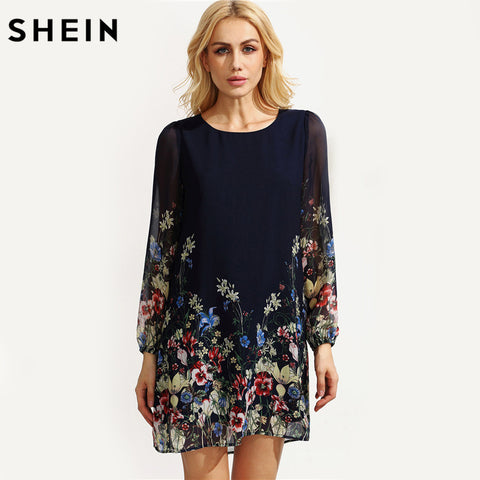 1407211045 ... Image of SHEIN Casual Autumn Boho Dresses for Women Multicolor Round  Neck Long Sleeve Floral Print ...