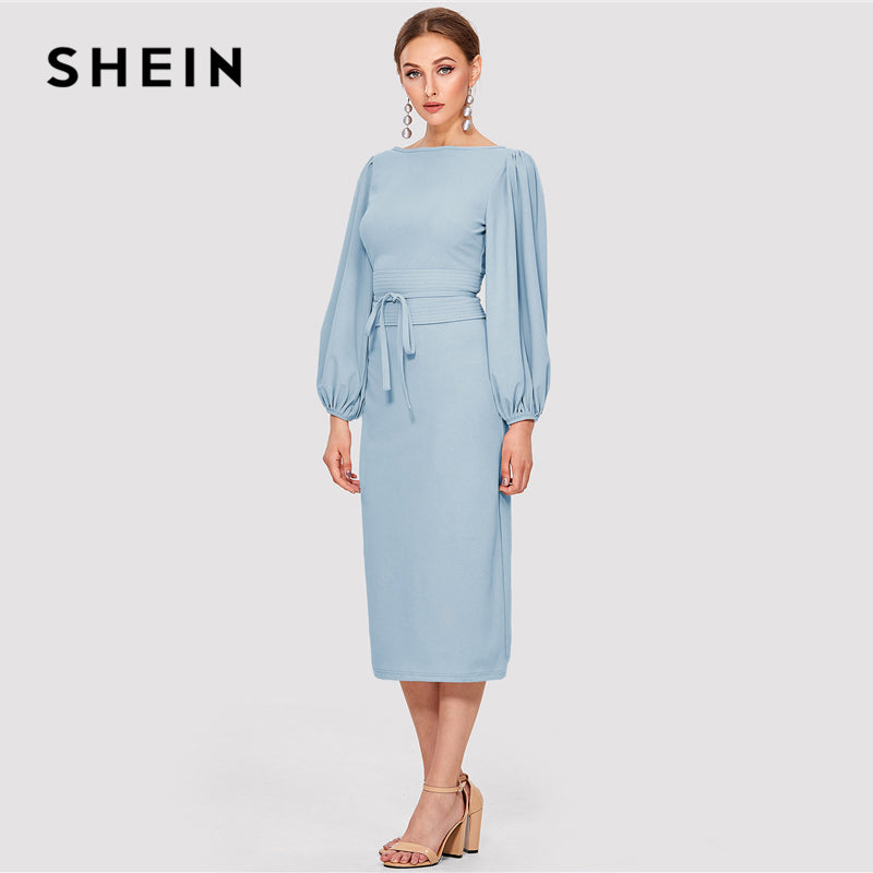 ac1c114088 Hover to zoom · SHEIN Elegant Workwear Blue Solid Tie Waist Lantern Sleeve  Boat Neck Knot Zipper Pencil Dresses Women