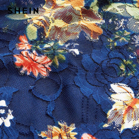 350cfcaa827 ... Image of SHEIN Flower Print Swing A Line Summer Dress Long Sleeve  Spring Multicolor Floral Calico ...