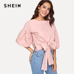 ad275ebbb7 SHEIN Pink Elegant Workwear Minimalist Bow Tie Front Bishop Sleeve High Low  Boat Neck Solid Blouse ...