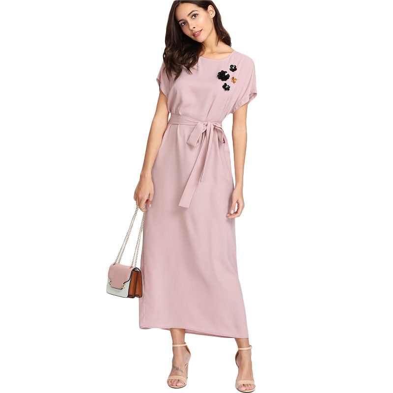 a5915a5d1f SHEIN Pink Flower Applique Dolman Sleeve Maxi Dress 2018 Women Spring Round  Neck Short Sleeve Rhinestone. Hover to zoom